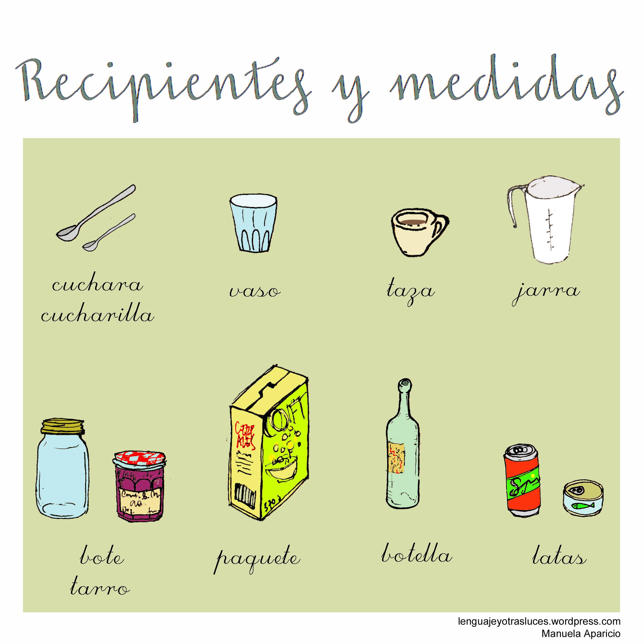 utensilios recipientes y medidas de cocina lenguaje y
