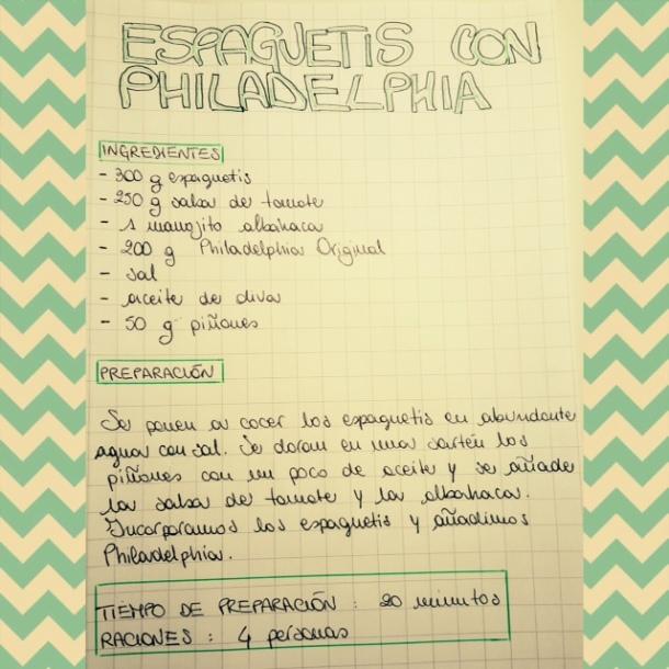 receta espaguetis con philadelphia