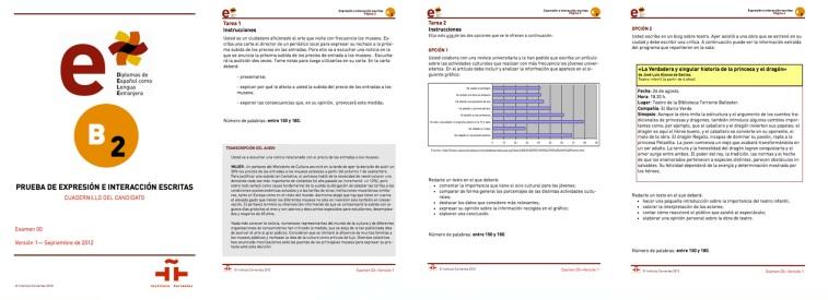 Diploma DELE B2. Expresion e interaccion escritas. Modelo de examen